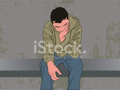 Depression - Sadness,Teenager,Suicide,Sitting,Men,Head In Hands,Hooded Shirt,Bench,Wall,Ilustration,Vector,Contemplation,Overcast,Feelings And Emotions,Frustration,Textured,Gray,Concepts And Ideas