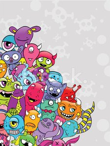 Bacterium,Fun,Human Skull,Humor,Alien,Cartoon,Monster,Vector,Art,Ilustration,Healthcare And Medicine,Pink Color,Characters,Smiling,Backgrounds,Design,Multi Colored,Healthy Lifestyle,Colors,Virus,Green Color,Collection,Pattern,Animal