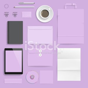 Corporate Business,Identity,Business,Digital Tablet,Pencil,Blank,Note Pad,Pen,Bag,Eps10,Coffee - Drink,Credit Card,Purple,Cup,Set,Envelope,Disk,Ruler,Vector,Group of Objects,Paper Bag,template,mock-up,Paper,Design