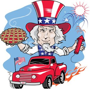 Uncle Sam,Fourth of July,Cherry Pie,Hot Rod,Goatee,Men,Ford,Riding,Pick-up Truck,Flag,Striped,White,Senior Adult,Firework Display,Star Shape,Pyrotechnics,Flame,Red,Cartoon,Blue,Celebration,Dessert,Retro Revival,Beard,USA,Independence Day,Patriotism,Hat,Fuse,Holiday,Rocket
