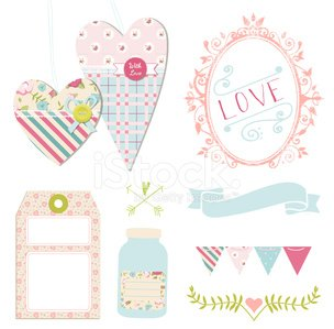 Wedding Love Or Romance Shabby Chic Design Elements Stock