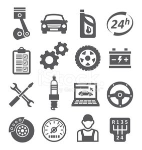 Transportation,Service,Repairing,Piston,Work Tool,Tire,Gearshift,Icon Set,Silhouette,Brake,Gear,Battery,Car,Station,Isolated,Land Vehicle,Speedometer,Wheel,Wrench,Spark,Spanner,Mechanic,Oil,Machinery