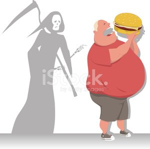 Overweight,Men,morbid,Fat,Grim Reaper,Over Eating,Food,Dieting,Human Heart,Diabetes,Blood Pressure Gauge,Risk,Cardiovascular System,Unhealthy Eating,Eating,Coronary Artery,Heart Attack,American Cuisine,Problems,Healthcare And Medicine,Illness,Adult,The Human Body,One Person,Male,Fast Food,Cholesterol,Healthy Lifestyle,Death,Hamburger