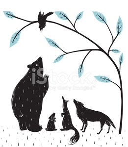 Animal,Drawing - Art Product,Woodland,Ilustration,Old-fashioned,Fox,Wolf,Tree,freehand,Meeting,The Media,Forest,Hare,Bear,Scribble,Silhouette,Nature,Vector,Crow,Animals In The Wild,Wildlife,Sketch,Rabbit - Animal,Characters,Computer Graphic,Event,Modern,Cartoon,Bird,Art,Black And White,Design,Isolated,Simplicity