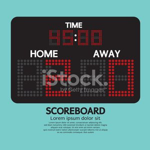 Scoreboard,Soccer,Equipment,Computer Graphic,Electricity,Sign,Rear View,Sport,Timer,Vector,Clock,LED,Data