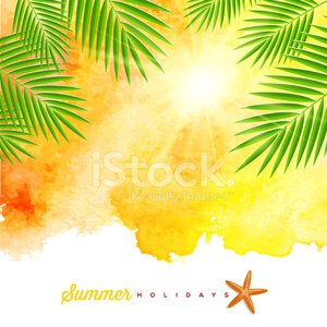 Watercolor Painting,Watercolor Paints,Palm Tree,Backgrounds,Branch,Typescript,Summer,Sunlight,Symbol,Beach,Vector,Plant,Starfish,Journey,Eps10,Ilustration,Yellow,Idyllic,Leaf,Sign,Greeting,Sunbeam,Tropical Climate,South,Light - Natural Phenomenon,Ornate,Design,Nature,Relaxation,Vacations,Travel Destinations,Tourist Resort,Travel