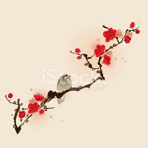 Pattern,China - East Asia,Japan,Japanese Culture,Floral Pattern,Cherry Blossom,Flower,Chinese Culture,Bird,Nature,Branch,Sparrow,Elegance,Plum Blossom,Retro Revival,East Asian Culture,Ilustration,Ink and Brush,Beauty In Nature,Tree,Springtime,Red,Growth,Vector