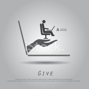 Hand Hold Man Working from Laptop Vector Icon stock vectors