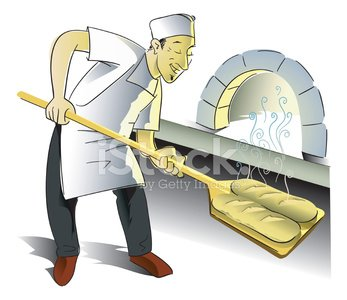 Baker,Bakery,Bread,Brick Oven,Craftsperson,Chef,Loaf of Bread,Wheat,Men,Store,Vector,Baguette,Food,Cooking,Cultures,Freshness,Ilustration,Tasting,Smoke - Physical Structure,Commercial Kitchen
