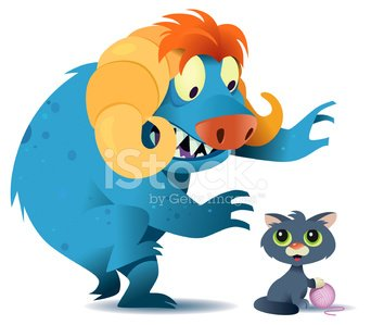 Monster,Domestic Cat,Kitten,Cute,Fur,Wool,Vector,Fear,Spooky,Claw,Illustrations And Vector Art,Feelings And Emotions,Cats,Animals And Pets,Concepts And Ideas,Fang,Snout,Horned