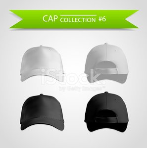 Baseball Cap,Cap,White,Front View,Rear View,template,Hat,Blank,Set,Collection,Front Side,Black Color,Illustrations And Vector Art,No People,Isolated On White