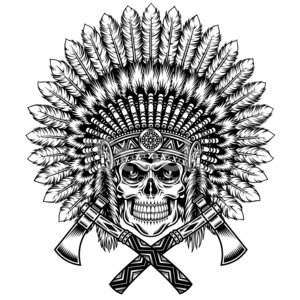 Human Skull,North American Tribal Culture,Native American,Headdress,Tattoo,Coat Of Arms,American Culture,Human Skeleton,Graphic T-Shirt,Black And White,Leadership,Decoration,Ilustration,Axe,Retro Revival,Dead,Human Head,Isolated On White,Tomahawk,Indigenous Culture,Cultures,Feather,Human Bone,Mascot,Feather,Ornate,Old-fashioned,Vector,Black And White Instant Print,American Tribal Culture,Insignia,Wild West,Design Element,Death,Badge