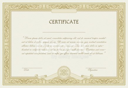 Editable Vector Certificate Template With Ornamental Border Stock