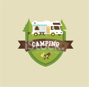 Motor Home,Trailer Park,Sign,Camping,Tourist Resort,Forest,Rv Park,Lifestyles,Land Vehicle,Car,Label,Vector,Insignia,Badge,Exploration,Vacations