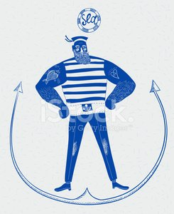Sailor,Boat Captain,Men,Retro Revival,Nautical Vessel,Muscular Build,Drawing - Art Product,Vector,Anchor,Facial Expression,Sea,Posing,Ilustration,Navy Blue,Summer,Old-fashioned,Fish,hand drawn,Hat,Cartoon,People,Art,People Traveling,Travel,Mischief,Blue,Strength,Water,Tattoo,Beard,Text,Cute,Isolated,Striped,Fashion,Human Eye