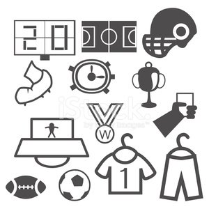 Sports Uniform,Recreational Pursuit,Black Color,Greeting Card,Sports Helmet,Modern,Scoreboard,Silhouette,Sport,Competition,Remote,Football,Cup,Symbol,Safety,Vector,Set,Soccer,Men,Shirt,Medal,Field,Ball,Human Foot,White,Shoe