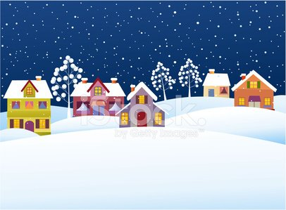 Christmas,Snow,House,Winter,Town,Landscape,Village,Scenics,Rural Scene,Banner,Panoramic,Cheerful,Frost,Tree,Hill,Vector,Night,Season,Ilustration