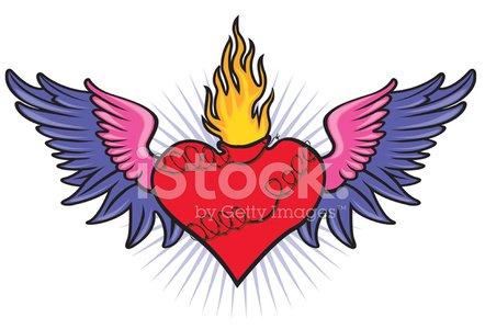 Sacred Heart With Wings Barbwire And Flame Stock Vectors 365psd