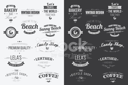 Collection of Vintage Retro Labels, Badges, Stamps, Ribbons