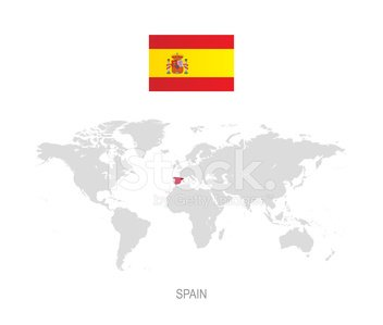 World Map Of Spain.Flag Of Spain And Designation On World Map Stock Vectors 365psd Com