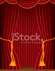 Empty Red Stage Curtains With Tieback And Wood Floor