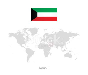 Flag of Kuwait and Designation on World Map stock vectors - 365PSD.com