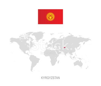 Flag of kyrgyzstan and designation on world map stock vectors flag of kyrgyzstan and designation on world map gumiabroncs Image collections