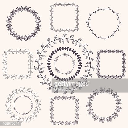 Creativity,Drawing - Activity,Christmas,Black Color,Circle,Bush,Decoration,Curve,Backgrounds,Frame,Greeting Card,Curled Up,Illustration,Young at Heart,Floral Pattern,Doodle,Vector,Collection,Foliate Pattern,2015,Clip Art,Banner