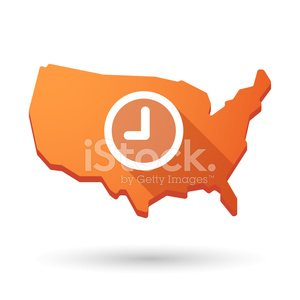 USA Map Icon With A Clock stock vectors and illustrations
