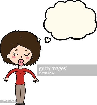 Cartoon Woman With Closed Eyes With Thought Bubble Vector Images