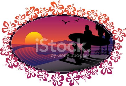 Beach,Surfing,Sign,Bicycle,Hibiscus,Surf,Sunset,Sport,Ellipse,California,Vector,Flower,Wave,Love,Couple,Vacations,Friendship,Summer,Travel,Adventure,Fun,Seagull,Individuality,Illustrations And Vector Art,Water's Edge