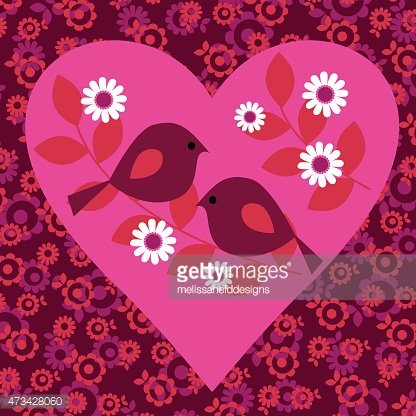 Love,Romance,Animal,Animal Markings,Bird,Pink Color,Red,Pattern,Modern,Flower,Branch,Backgrounds,Heart Shape,Valentine Card,Cute,Valentine's Day - Holiday,Illustration,Animal Themes,Vector,Single Flower,Retro Styled,Sparse,Femininity,Magenta,Background,2015,Maroon,111645
