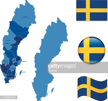 Sweden Map And Flag Collection Stock Vectors PSDcom - Sweden map flag