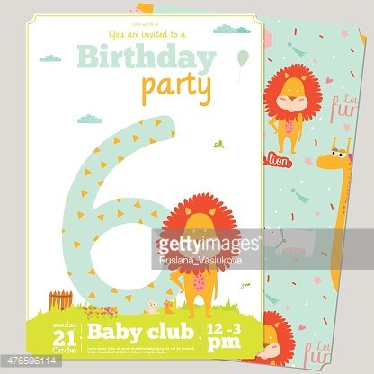 Birthday Party Invitation Card Template With Cute Numbers