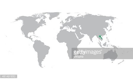 Laos On A World Map.Vector Map Of The World With Indication Of Laos Stock Vectors