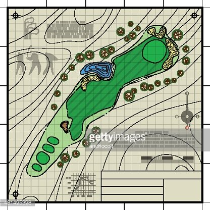Golf Course Layout Blueprint Drawing stock vectors - 365PSD.com on