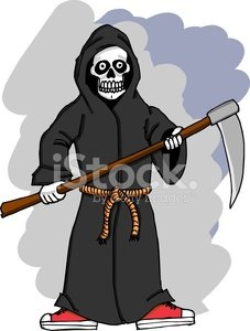 Grim Reaper,Depression - Sadness,Rope,Bathrobe,Halloween,People,Belt,Uniform,Clothing,Shoe,Red,Suit,getup,October,Harvesting,Holidays And Celebrations,guise,Illustrations And Vector Art,Halloween,Canvas Shoe,Fashion,Hump,Traditional Clothing