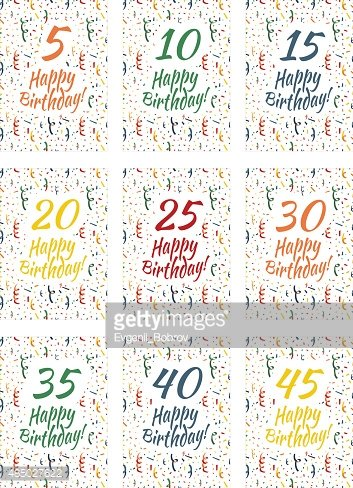 set of happy birthday card covers for anniversary 5 10 stock vectors