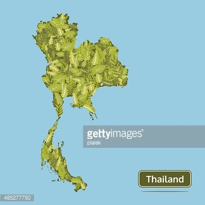 Thailand Vector Map, Green Leaves Thailand Map Illustration ...