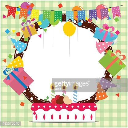 Birthday Frame With Balloon, Cake and Element for Design stock ...