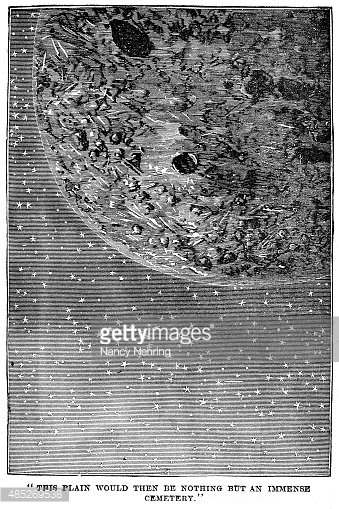 Engraving,Art,Jules Verne,1880-1889,Print,66697,Victorian Style,78279,Art And Craft,19th Century,Vertical,Old-fashioned,Space,Illustration,Jules Verne,Woodcut,Moon Surface,Moon,Black And White,Old,Engraved Image,2015,No People,Futuristic,Old