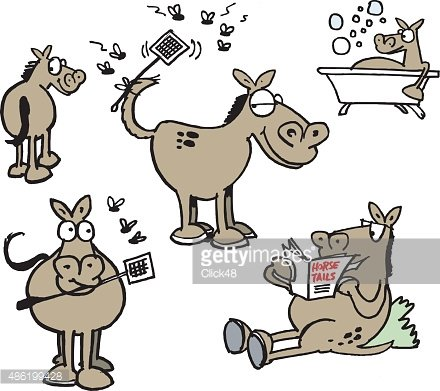 60161,Relaxation,Humor,Choice,Comfortable,Magazine,Horse,Animal,Cartoon,Cheerful,Illustration,Fly,2015,Reading,Group Of Animals,Happiness,Drenched,Bathtub,Publication,Fly Swatter,Insect,Fun,Vector,Front View,Rear View,Smiling,Holding,Standing,Brown,White Background