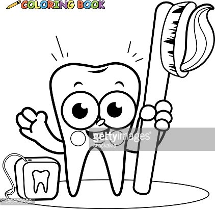 Coloring page tooth cartoon character holding toothbrush and dental floss