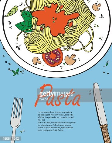 Vector Cooking Banner Template With Pasta Vector Images