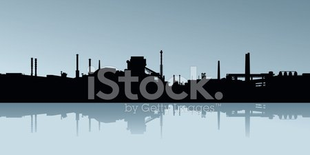 Factory,Industry,Steel Mill,Oil Refinery,Silhouette,Urban Skyline,Pipe - Tube,Vector,Chemical Plant,Built Structure,Urban Scene,Backgrounds,Lake,River,Backdrop,Smoke Stack,Water's Edge,Overcast,Reflection