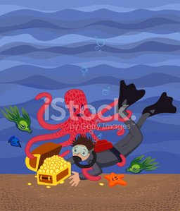 Scuba Diving,Underwater Diving,Treasure,Sunken,Ocean Floor,Octopus,Diving,Treasure Chest,Gold,Gold Colored,Starfish,Fish,Sea,Coin,Protection,Water,Wealth,Currency,Fighting,Illustrations And Vector Art,Sports And Fitness,Success,Vector Cartoons,Water,Concepts And Ideas,Bottom Of The Sea,Searching,Persistence,Determination,Struggle,Pirate Treasure