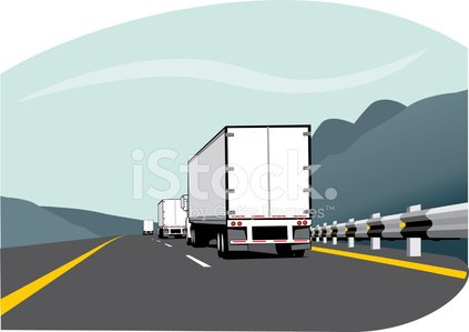 Truck,Semi-Truck,Convoy,Highway,Road,Vehicle Trailer,Trucking,Cargo Container,Freight Transportation,Driving,Land Vehicle,Mode of Transport,Two Lane Highway,Business,Transportation,Finance,Business Travel