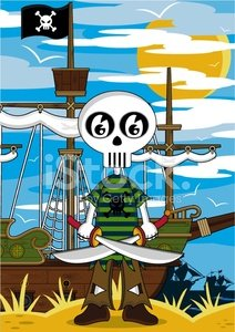 Monster,Cute,Cartoon,Nautical Vessel,Human Skeleton,ghoul,Cloud - Sky,Flag,Sailing Ship,Bird,Sun,Modern,Cool,One Person,Striped,Digitally Generated Image,Travel Locations,Fun,Beaches,Illustrations And Vector Art,Blade,People,Vector Cartoons,Characters,Non-Urban Scene,Standing,Sword,Computer Graphic