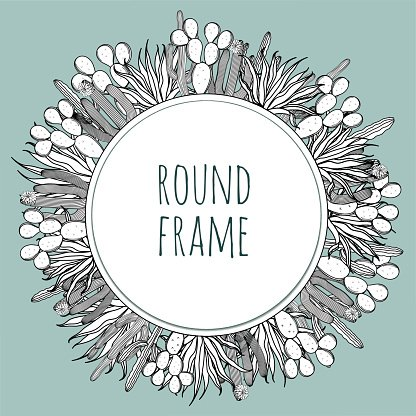 Round Succulent Cactus Outline Black and White Frame stock vectors ...