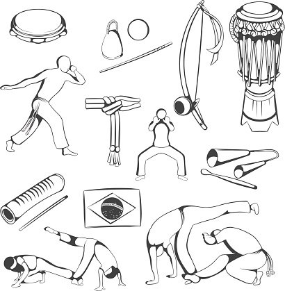 Reco-reco,Gankogui,Percussion Instrument,Flag,Caxixi,Tambourine,Sport,martial,African Culture,Berimbau,Capoeira,Symbol,Folk Music,Kicking,Speed,Capoeirista,Icon Set,Drawing - Activity,Illustration,Brazil,Collection,Clip Art,Africa